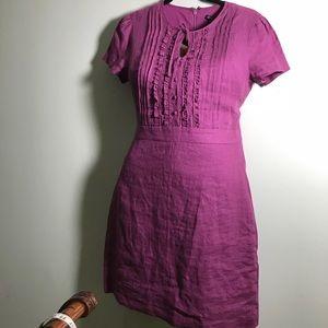 Brooks Brothers pink/purple fuchsia linen dress 8